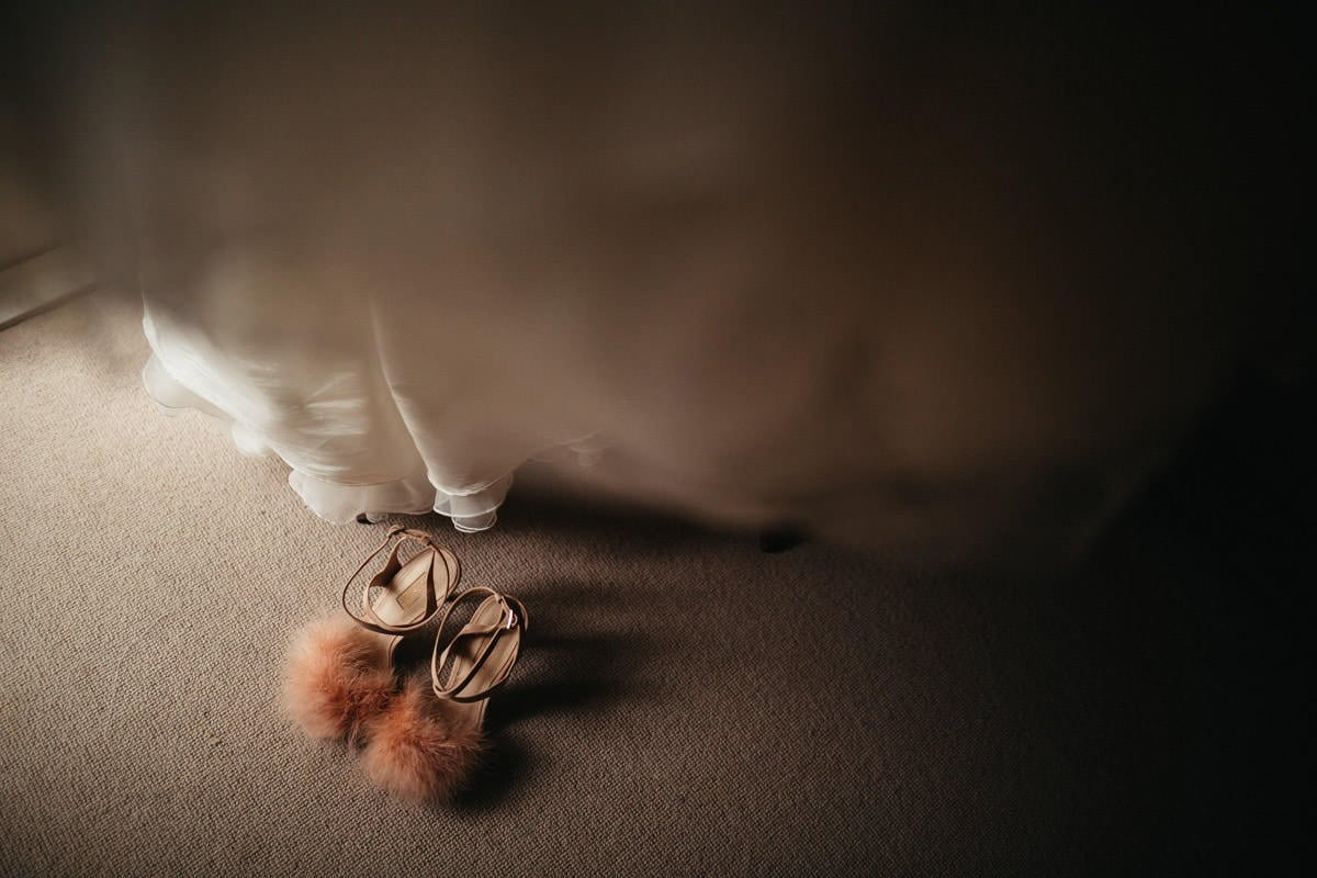 pink furry wedding shoes